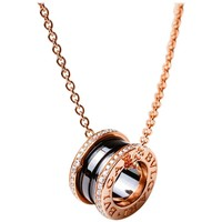 Bulgari Bvlgari B.zero1 Necklace 18 Karat Gold Black Ceramic 0.41 Carat Diamonds