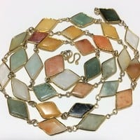 Bezel Set Harlequin Stone Necklace, Mixed Agate and Quartz Stones, 28in Long, Gold Plated Setting, Geometric Shape 718m