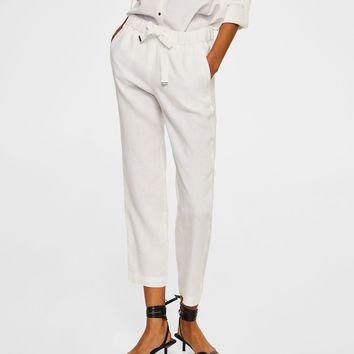 Bow linen trousers - f foStraight Women | MANGO USA