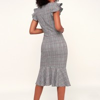 Poised For a Promotion Grey Glen Plaid Ruffle Midi Dress
