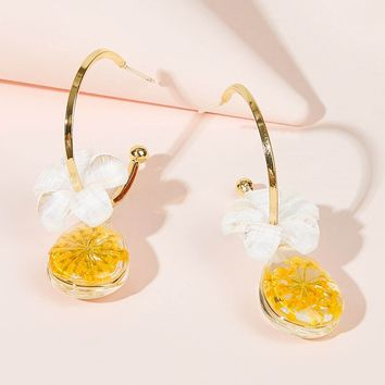 Cuff Ring Epoxy Flower Drop Earrings 1pair