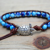 Sea Turtle Bracelet - Leather Beaded Wrap Bracelet - Beachy Jewelry - Nautical Jewelry - Boho Surfer Chic