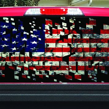 Shattered American Flag Rear Window Decal