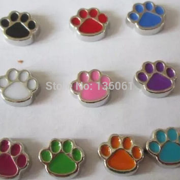 Vintage Enamel Mix Dog Paw Prints Alloy Floating Locket Charms  For  Floating Memory Lockets Necklace Jewelry 60Pcs Q588