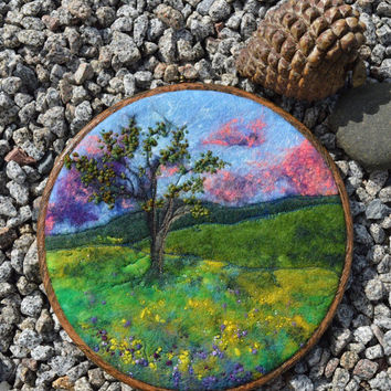 "Handmade original wet felt and embroidery colourful tree in meadows with wildflower ireland picture. Ready to hang in 9"" embroidery hoop."