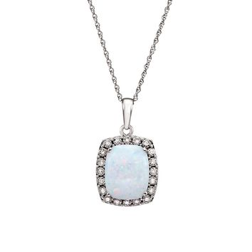 Cushion Created Opal & .05 Ctw Diamond 14k White Gold Necklace, 18 In