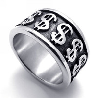 Titanium Steel Money Dollar Sign Ring for Men & Woman-Size 12