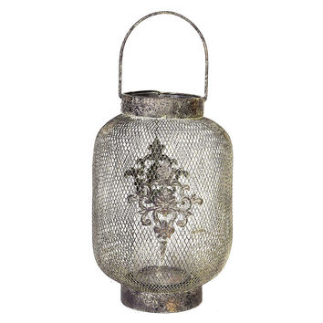 "17"" Mesh Lantern, Silver, Other Accent Pieces"