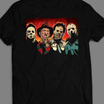 HORROR MOVIE KILLERS, LEATHERFACE, FREDDY, JASON, MICHAEL MYERS T-SHIRT