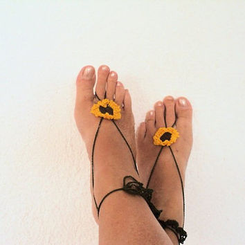 Sunflower Barefoot Sandals Crochet,Foot Jewelry, Toe Ring, Yoga sandals, Beach Weddings,