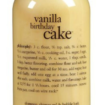 Philosophy Vanilla Birthday Cake Shampoo/Shower Gel/Bubble Bath, 16 Ounces