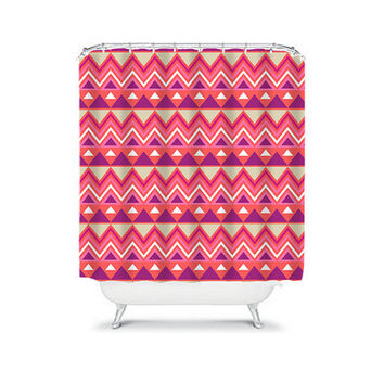 Shower Curtain Aztec Tribal Chevron Colorful Red Pink Geometric Pattern Bathroom Bath Polyester Made in the USA
