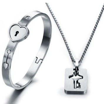 "LOVE Beauties His and Hers Matching Set Couple Titanium ""Only You Have My Key"" Bangle Bracelet Magnetic Simple Korean Style Anti-fatigue in a Gift Box"