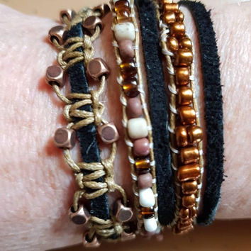 Long beaded and macrame wrap bracelet with recycled glass beads, black suede, square copper beads in brown black and tan color
