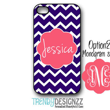 Personalized iPhone case, iPhone 4 case, iPhone 5 case, Navy Chevron Pink Coral Monogram, Personalized Phone cover (1162)