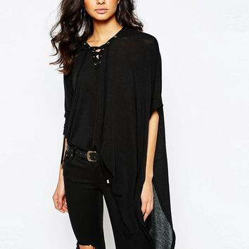 River Island Asymmetric Eyelet Top at asos.com