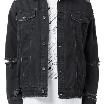Topman AAA Collection Ripped Denim Jacket | Nordstrom