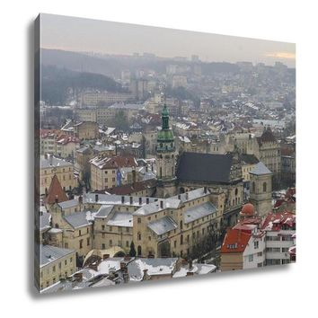 Gallery Wrapped Canvas, Winter Panorama Of Lviv Covered By Snow UKrainelviv Lvov Eastern UKraine The