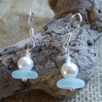 PEARLS...Scottish sea glass earrings, sea glass stacker earrings with vintage faux pearl, sea foam sea glass earrings with faux pearl