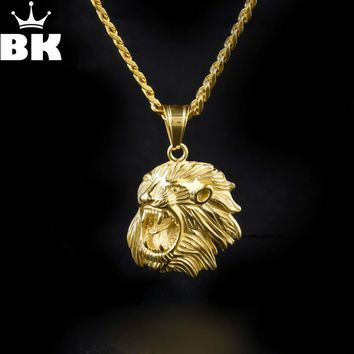 Hip Hop Gold Tone Games Of Throne Roar Lion Pendant Necklace High Quality Stainless Steel Animal Lion Charm Pendant Long Chain