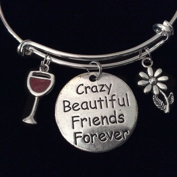 Crazy Beautiful Friends Forever Wine Glass Expandable Charm Bracelet Silver Adjustable Wire Bangle Stacking Bangle Trendy Love You BFF