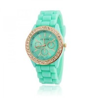 ZLYC Summer Silicone Rhinestone Sports Strap Watch for Women Mint Green