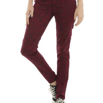Licensed cool Blackheart Burgundy Red Skull SPLATTER Super Skinny Jeans JRS 0-15 Hot Topic