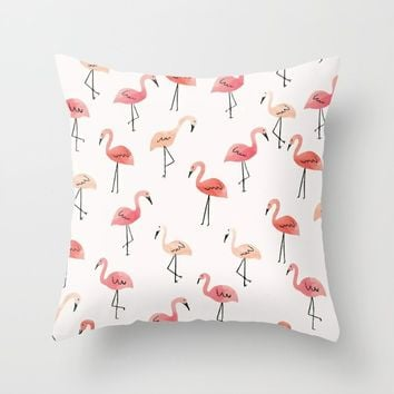 Flamingo Fun Throw Pillow by allisone