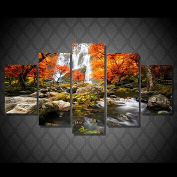5 piece panel canvas art picture autumn nature lake forest waterfall landscape