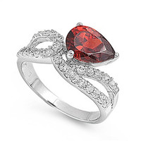 925 Sterling Silver CZ Infinity Tear Drop Fusion Simulated Garnet Ring 9MM
