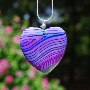 Purple Blue and Pink Heart ~  Dragon Vein Agate Stone Pendant on a Sterling Silver Chain ~ Agate Stone Necklace  ~ Striped Stone