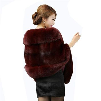 New Bridal Jacket Coat Faux Fur Women Wedding Shawl Evening Party Dress Wraps Fur Shoulder Capes Slim Lady Fake Fur Cloak WZ134