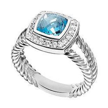 Blue Topaz and Diamond Rope Ring : 14K White Gold - 5.50 CT TGW