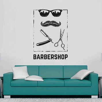 kik3245 Wall Decal Sticker Mustache sunglasses men's hairdresser barbershop