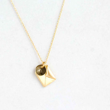 Personalized Romantic Envelope Letter gold necklace simple minimal jewelry stocking stuffer luck protection and wisdom