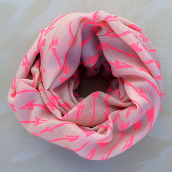Neon Pink Arrow Infinity Scarf
