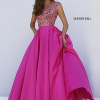 Sherri Hill Hot Pink Satin A Line Dress 32359