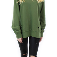 long sleeve distressed french terry sweater (olive)