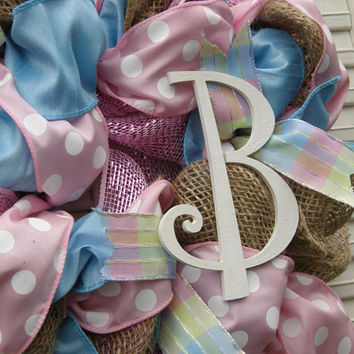 Welcome Baby Wreath Baby Girl Nursery Monogram Burlap Nursery Pink Wreath Pink Blue Nursery Decor Pink Polka Dot Baby Girl Hospital Door