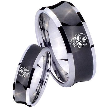His Her Black Concave Skull Marijuana Leaf Two Tone Tungsten Wedding Rings Set