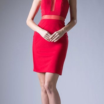 Sheer Cut Out Bodice Short Cocktail Dress Red Racer Back
