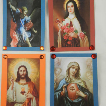 Religious Catholic Blank Note  Icon Cards Handmade St Therese Jesus Holy Mother St Michael