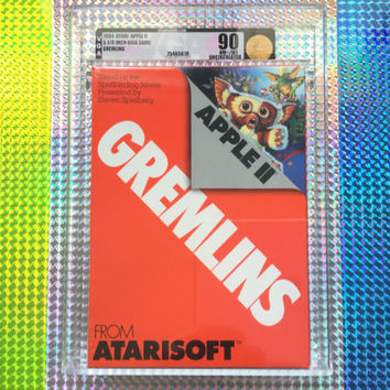 1984 Gremlins Apple II Atari Atarisoft 5 1/4 Inch Disk Game New & Factory Sealed! Graded VGA U90 Gold Rare Vintage Video Game Great Gift