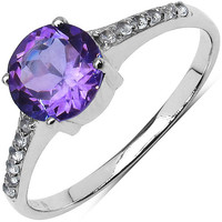 Amethyst & White Topaz Sterling Ring