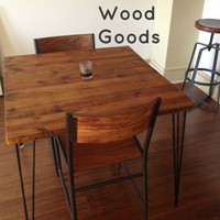 "Small CafeTable with reclaimed wood top and Hairpin legs. 24"" L x 24"" W x 30"" tall, seats 2 people. 1.65"" top"
