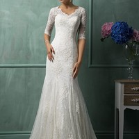 Lace Wedding Dress V-Neck Half Sleeve Button Sweep Train Applique Mermaid Bridal Gowns Dresses Vestido De Noiva Custom Made