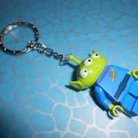 Hand Made ALIEN Keyring KEYCHAIN made using a LEGO minifigure from Toy Story