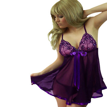 Purple Bead Accent Lace Mesh Babydoll Lingerie