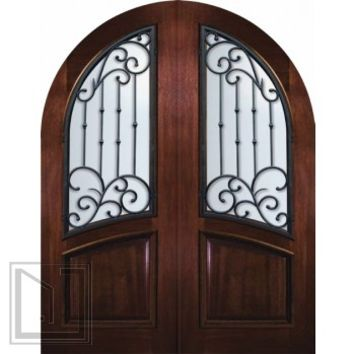 Pre-hung Double Door 96 Mahogany Catalina Round Top Wrought Iron
