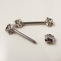 2 Piece 14G Punk Rock Sexy Love Fashion Flower Nipple Shield Rings Body Piercing Jewelry Sun Flowers Nipple Bar Women
